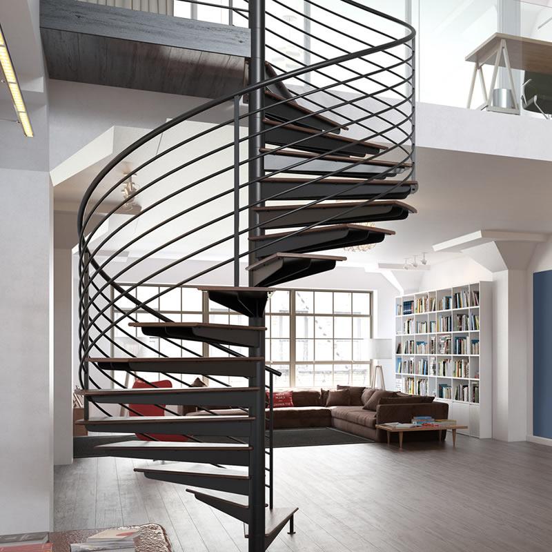 Scala a chiocciola in ferro battuto interno casa moderna