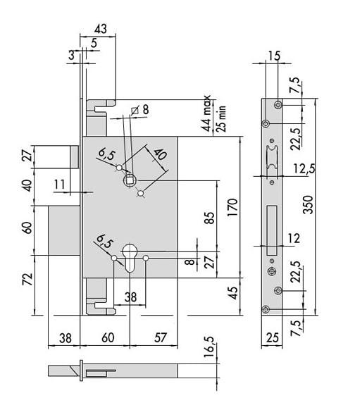 Serratura di utilizzo per inferriate per porta di entrata  a battente Cisa Modello 56255