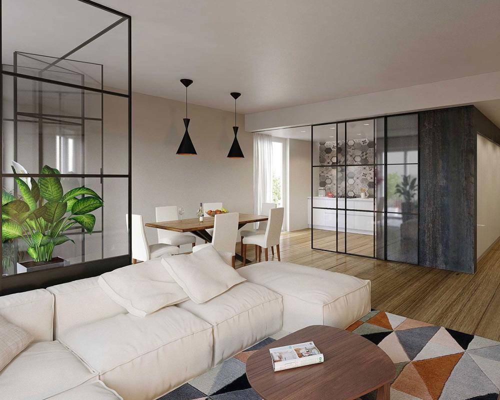 Vetrata minimal per open space